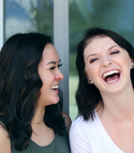 Two language students laughing